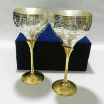 Gold & Silver Plated Wine Glass(Set of 2 pcs)