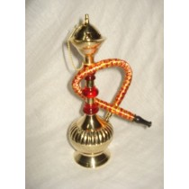 Golden Brass carved Bowl With Red Acrylic Hookah