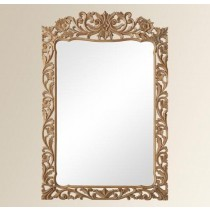 Golden Curved  Finish Mango Wood Mirror Frame