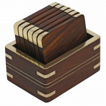 Golden Polish Wooden Coasters Set of 6 Pcs