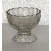 Gray Glass Curved Pattern Candle Holder