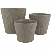 Gray Round Ceramic Planter Set of 3 Pcs