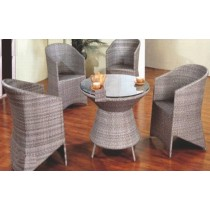 Gray Shaded Wicker Garden Dinning Set(4 Chair + 1 Table)