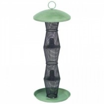 Green and Black Finish Metal Tube Bird Feeder