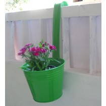 Green 6 Inch Bucket Metal Planter With Handle