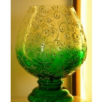 Green Burnt  Swirls Candle Holder