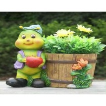 Green Caterpillar With Apple Garden Planter