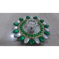 Green Decorative Floating Kundan Lamp