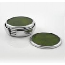 Green Enamel Aluminum Coaster 6 pc set