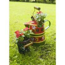 Green Finish Watering Can Shape Small Metal Planter