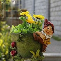 Green Floral Design Garden Flower Pot With Gnome