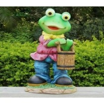 Green Frog Holding Wooden Basket