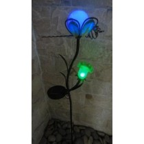 Green Glass Flower Shape Green LED Iron Solar