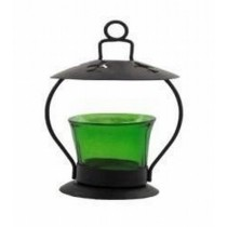 Green Glass Hanging Metal Votive Candle Holder