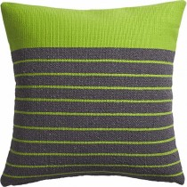 Green & Grey Strip Cushion Cover
