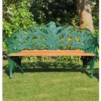 Green Hand Cast Aluminium Three Seater Garden Bench