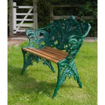 Green Hand Cast Aluminium Two Seater Garden Bench