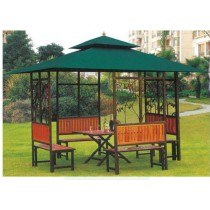 Green Iron Gazebo Tent with Benches and Table