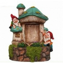 Green Mushroom House & Garden Gnome