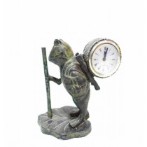 Green Patina Brass Turtle Table Clock