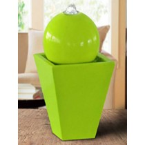 Green Pedestal With Sphere Shape Led Water Fountain