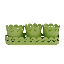 Green Metal Planters With Tray