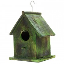 Green Rustic Mango Wooden Bird House