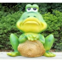 Green Sad Frog Garden Sculpture
