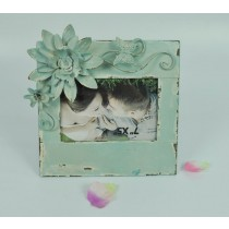 Green Shabby Chic Flower & Butterfly Photo Frame