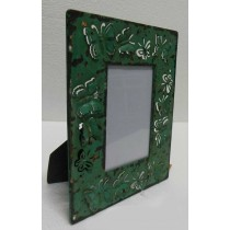 Green Washed Hand Butterfly Carving  Photo Frame