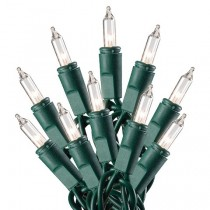 Green Wire Clear Mini String Light Set