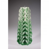 Green With Combine White Cut & Curls Candle