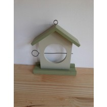 Green With White Color Fir Wood Hanging Bird House