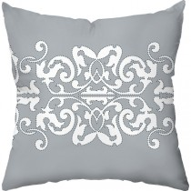 Grey Color Graphic Print Square Cushion