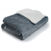 Grey Fleece With Sherpa Backing Queen Size Throw
