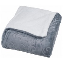 Grey Floral Etched Fleece Queen Size Throw