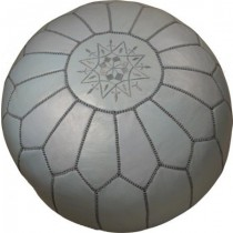 Grey Leather Cover Floor Pouf