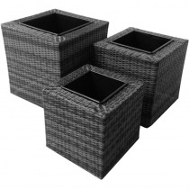 Grey Trio Squared Rattan Planter Set of 3 Pcs