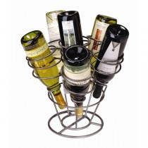 Gunmetal Finish 6 Bottle Tabletop Wine Rack
