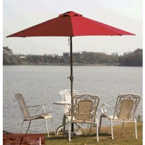 Hand-rotating Aluminum Red Umbrella