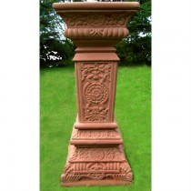Hand Carved Red Sandstone Sundial Column