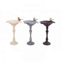 Hand Cast Aluminium Cream Finish Bird Bath