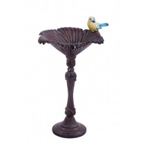 Hand Cast Aluminium Rustic Brown Finish Bird Bath
