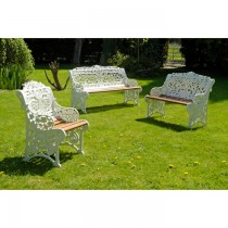 Hand Cast Design Aluminium Powder Coated Garden Bench Set