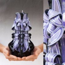 Hand Craved Black & Purple Cut & Curls Candle