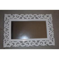 Hand Curved Vintage White Wooden Mirror Frame