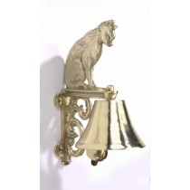 Hand Made Cat Design Brass Bell And Wall Bracket