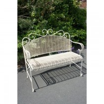 Hand Made Classic Cream Finish Iron Garden Bench