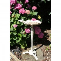 Hand Made Cream Finish Iron Bird Feeder