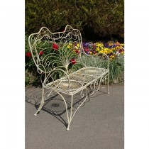 Hand Made Cream Finish Iron Garden Bench